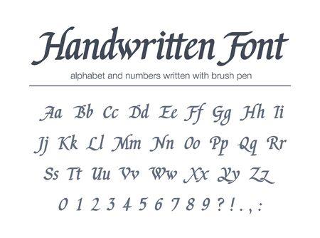 Universal handwritten italic font. Hand drawn alphabet written with brush pen. Retro style classic calligraphy script.