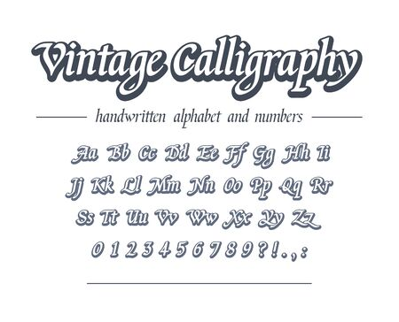 Vintage calligraphy. Hand drawn outline alphabet. Universal handwritten font for business  design, package, banner heading. Retro style classic script. Modern vector typeface with letters, numbers