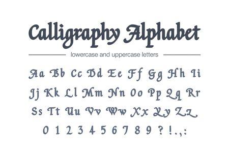 Calligraphy alphabet. Universal handwritten bold font for package, banner, headline. Retro style classic hand drawn script.