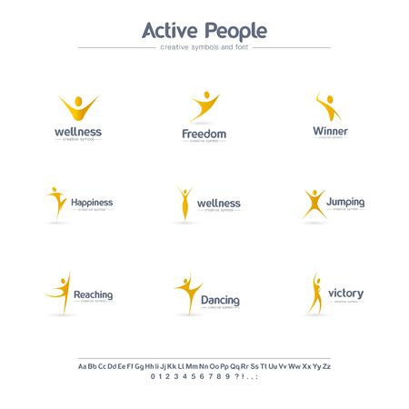 Active people creative symbols set, font concept. Winner, happy human, freedom abstract business logo. Dancing man, wellness, sport icon. Corporate identity alphabet, logotype, company graphic design