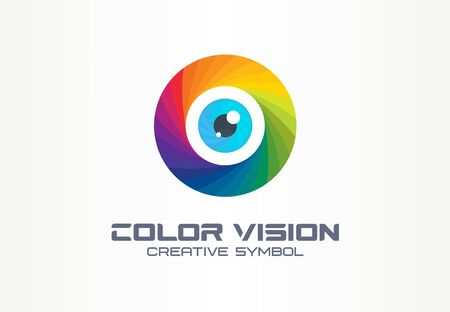 Color vision, circle eye creative symbol concept. Colorful iris lens, security, rainbow abstract business  idea.