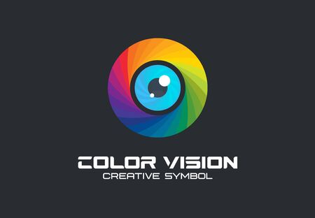 Color vision, camera eye creative symbol concept. Digital technology, security, protect abstract business idea. Illustration