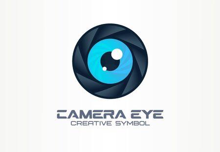 Photo camera eye, digital vision creative symbol concept. Cctv, video monitoring abstract business  idea. Diaphragm, shutter lens icon.
