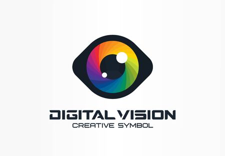 Digital vision, cyber eye, color lens creative symbol concept. Ophthalmology, security abstract business  idea. Spectrum, rainbow icon. Illustration
