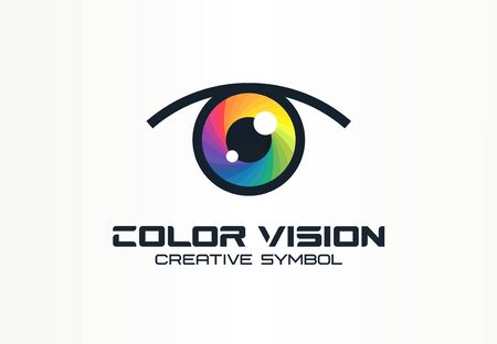 Color vision, camera eye creative symbol concept. Digital technology, security, protect abstract business idea. Иллюстрация