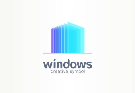3d windows, glass creative symbol concept. Construction, architecture, real estate, abstract business logo idea. Home, build, house icon. Corporate identity logotype, company graphic design tamplate Foto de archivo - 129434534