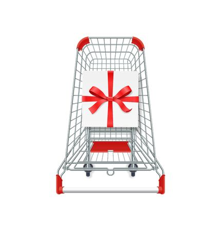 Supermarket shopping cart, gift box whith red ribbon and bow. 3d top view vector illustration. Photo realistic concept for Christmas cards, sale banners. Single object isolated on white background.