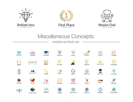 Miscellaneous Concepts creative symbols set. Idea bulb, awards, education, healthcare abstract business logo concept. Book, food, cafe, cook icons. Corporate identity logotypes, company graphic design Stok Fotoğraf - 130781248