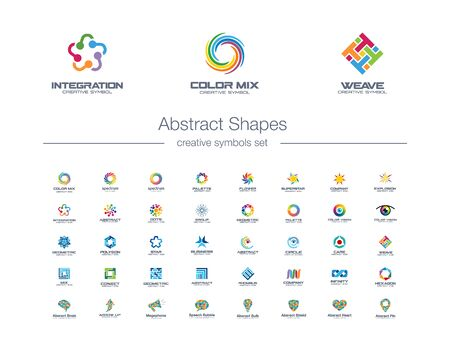 Abstract connections creative symbols set. Global network technology, social media colorful business logo concept. Swirl, flower, rainbow icons. Corporate identity logotypes, company graphic design