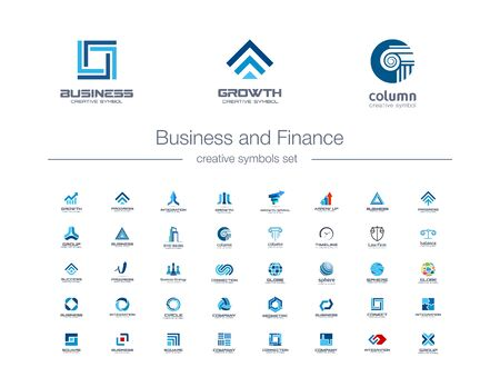 Business and finance creative symbols set. Global banking, stock marketing abstract business logo concept. Growth arrow, success, increase icons. Corporate identity logotypes, company graphic design Ilustracja