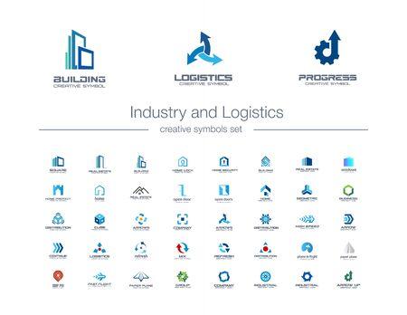 Conjunto de símbolos creativos de industria y logística. Construcción, transporte, ingeniería concepto de logotipo empresarial abstracto. Edificio, iconos de la casa. Logotipos de identidad corporativa, diseño gráfico de la empresa