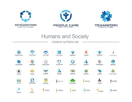 Humans group, Society creative symbols set. People protect, teamwork, collaboration abstract business logo concept. Family, friend, leader icons. Corporate identity logotypes, company graphic design Çizim