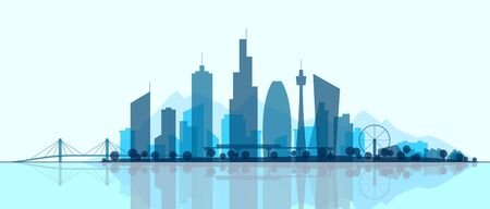 Futuristic cityscape, silhouette art illustration. Modern City panorama with reflection on water. Abstract town landscape. Urban skyline with downtown skyscrapers, office buildings, park. Çizim