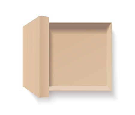 Open craft box. Empty cardboard container template. 3d top view illustration with transporented shadow isolated on white. Blank space inside recycle bio pakage mockup. Closeup realistic vector object.