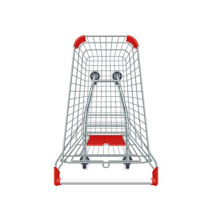 Red supermarket shopping cart. 3d top view vector illustration. Photo realistic empty basket for food products. Customers market trolley mockup. Single object isolated on white. Mall equipment