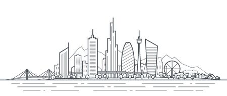 Futuristic cityscape thin line art illustration. Outline future city panorama. Abstract town landscape. Urban skyline with downtown skyscrapers, office buildings, park. Modern architectural exterior