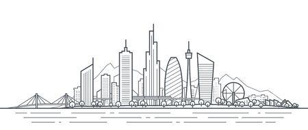 Ilustración de arte de línea fina de paisaje urbano futurista. Esquema del panorama de la ciudad futura. Paisaje abstracto de la ciudad. Horizonte urbano con rascacielos del centro, edificios de oficinas, parque. Exterior arquitectónico moderno Ilustración de vector