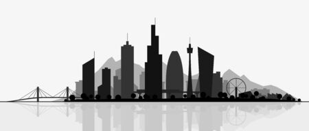 Futuristic cityscape, silhouette art illustration. Modern City panorama with reflection on water. Abstract town landscape. Urban skyline with downtown skyscrapers, office buildings, park.