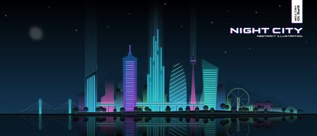 Futuristic neon cityscape illustration. Modern night city panorama with reflected light on water. Illuminated town landscape. Urban skyline with downtown skyscrapers, glowing office buildings, park. Ilustración de vector
