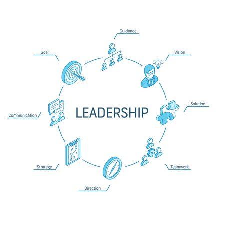 Leadership isometric concept. Connected line 3d icons. Integrated circle infographic design system. Vision, Goal, Guidance and Strategy symbols. Direction, Teamwork, Solution, Communication pictogram 벡터 (일러스트)