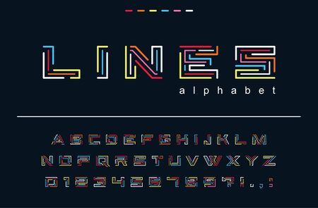 Geometric color lines font. Technology, puzzle maze, fun art abstract alphabet. Letters, numbers for trendy fashion, hipster festive, creative game logo design. Modern minimalistic vector typeface set
