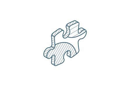 puzzle part, jigsaw piece, solution isometric icon. 3d vector illustration. Isolated line art technical drawing. Editable stroke 向量圖像