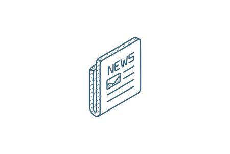 Newspaper, daily press, news content, article isometric icon. 3d vector illustration. Isolated line art technical drawing. Editable stroke Çizim
