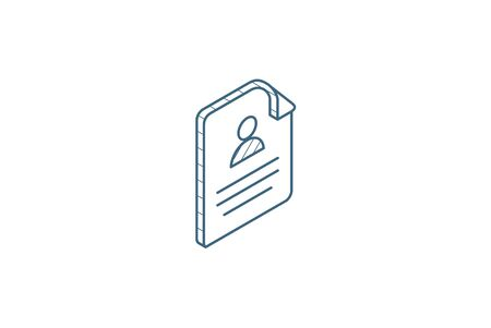 profile, social media user picture, recruitment, resume isometric icon. 3d vector illustration. Isolated line art technical drawing. Editable stroke