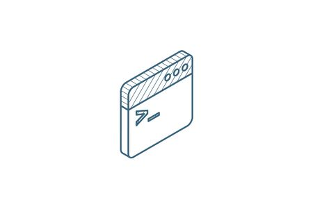 programming code, application isometric icon. 3d vector illustration. Isolated line art technical drawing. Editable stroke Vectores