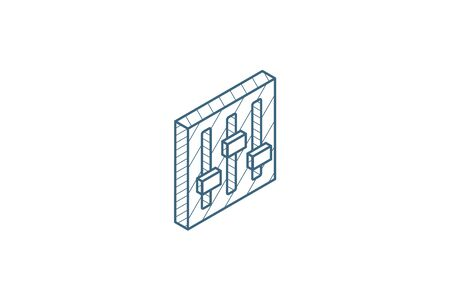 Mixer, Setup isometric icon. 3d vector illustration. Isolated line art technical drawing. Editable stroke Vettoriali