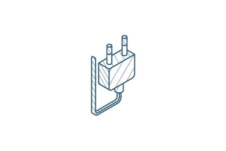 Electric Plug isometric icon. 3d vector illustration. Isolated line art technical drawing. Editable stroke