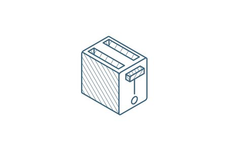 Toaster isometric icon. 3d vector illustration. Isolated line art technical drawing. Editable stroke