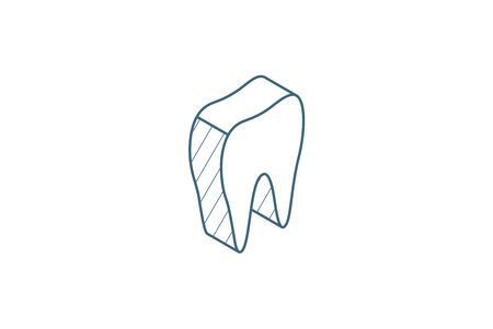tooth isometric icon. 3d vector illustration. Isolated line art technical drawing. Editable stroke Vettoriali