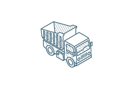 dump truck isometric icon. 3d vector illustration. Isolated line art technical drawing. Editable stroke Illustration