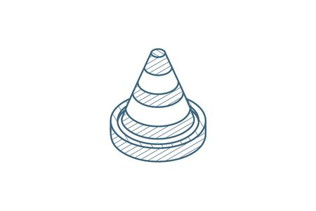 traffic cone isometric icon. 3d vector illustration. Isolated line art technical drawing. Editable stroke 向量圖像