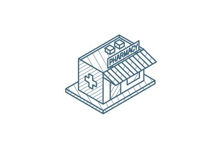 pharmacy building isometric icon. 3d vector illustration. Isolated line art technical drawing. Editable stroke