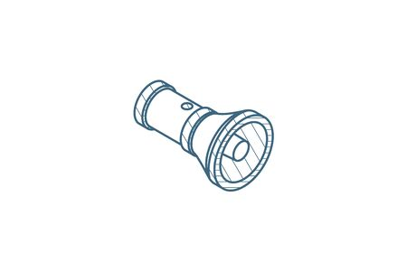 flashlight Isometric icon. 3d vector illustration. Isolated line art technical drawing. Editable stroke