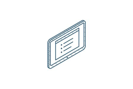Tablet PC isometric icon. 3d vector illustration. Isolated line art technical drawing. Editable stroke