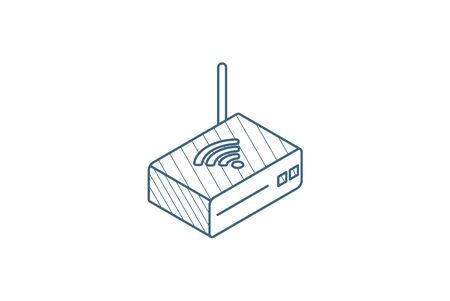 Wireless router isometric icon. 3d vector illustration. Isolated line art technical drawing. Editable stroke