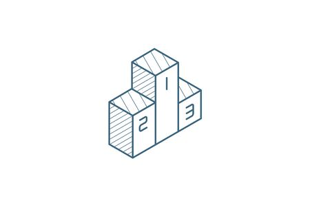 Empty Winners Podium, First, Second, Third Place, Award Ceremony isometric icon. 3d vector illustration. Isolated line art technical drawing. Editable stroke