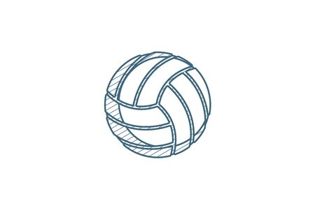 volleyball ball isometric icon. 3d vector illustration. Isolated line art technical drawing. Editable stroke