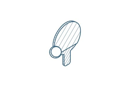 Table tennis bat and ball isometric icon. 3d vector illustration. Isolated line art technical drawing. Editable stroke