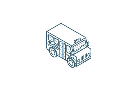 school bus isometric icon. 3d vector illustration. Isolated line art technical drawing. Editable stroke