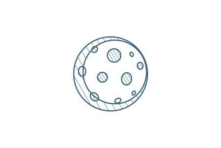 Full Moon, satellite isometric icon. 3d vector illustration. Isolated line art technical drawing. Editable stroke