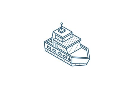 Yacht boat isometric icon. 3d vector illustration. Isolated line art technical drawing. Editable stroke