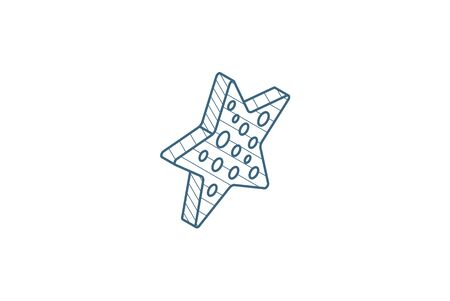 Starfish isometric icon. 3d vector illustration. Isolated line art technical drawing. Editable stroke