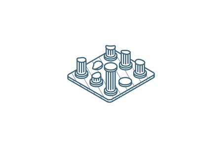 architecture History, ruins isometric icon. 3d vector illustration. Isolated line art technical drawing. Editable stroke Stock fotó - 149523824