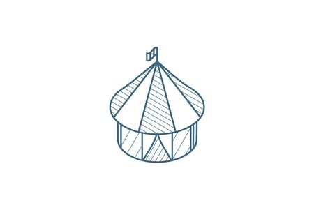 Circus tent isometric icon. 3d vector illustration. Isolated line art technical drawing. Editable stroke