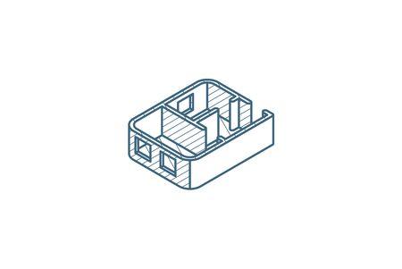 Architektonische Zeichnungen. Wohnungsplan isometrisches Symbol. 3D-Vektor-Illustration. Isolierte Linie technische Zeichnung. Bearbeitbarer Strich