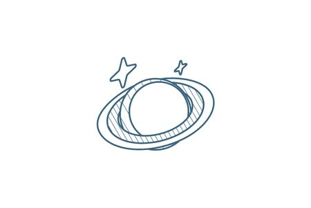Planet, Space, Astronomy isometric icon. 3d vector illustration. Isolated line art technical drawing. Editable stroke